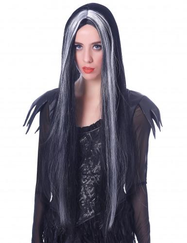 Langhaar Halloween-Perücke Hexe schwarz-weiss 75cm