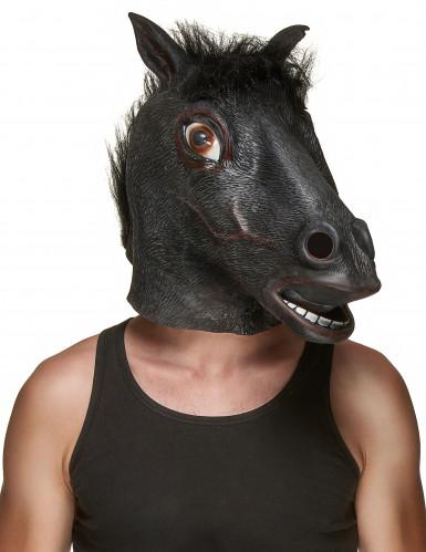 Gruselige Pferde-Maske Halloween-Maske dunkelbraun