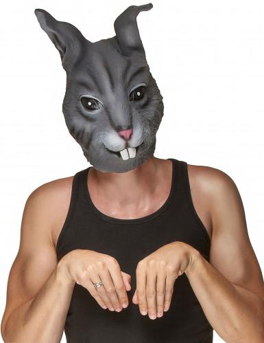 Naturgetreue Hasenmaske Tiermaske Kostüm-Accessoire grau