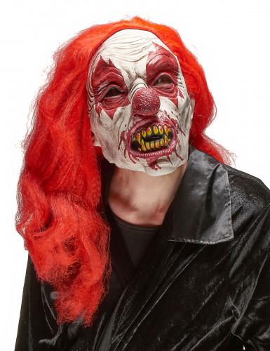 Horrorclown-Maske mit langen Haaren Psychoclown-Latexmaske weiss-rot-gelb