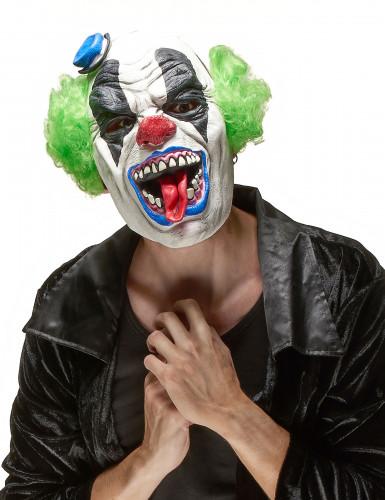 Horrorclown Halloween Maske weiss-bunt