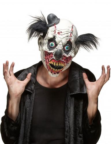 Zombieclown-Maske Monsterclown-Latexmaske schwarz-weiss-bunt