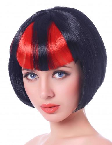Kurzhaar Damenperücke Teufelin Kostümzubehör schwarz-rot