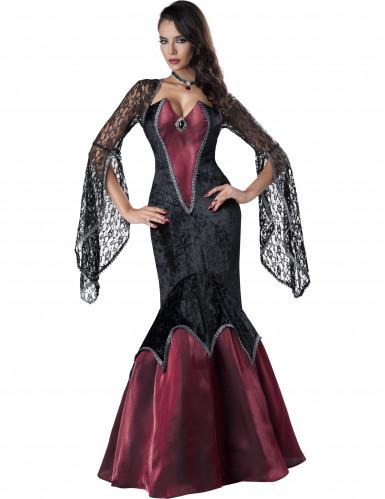 Gothic-Barock Vampirin Halloween-Damenkostüm schwarz-bordeaux