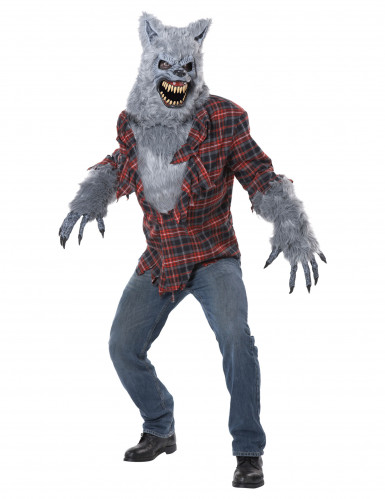 Werwolf Halloween-Kostüm mit Ani-Motion Maske grau-rot