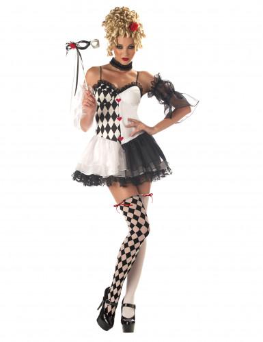 Clown-Frau Harlekin Damenkostüm schwarz-weiss-rot