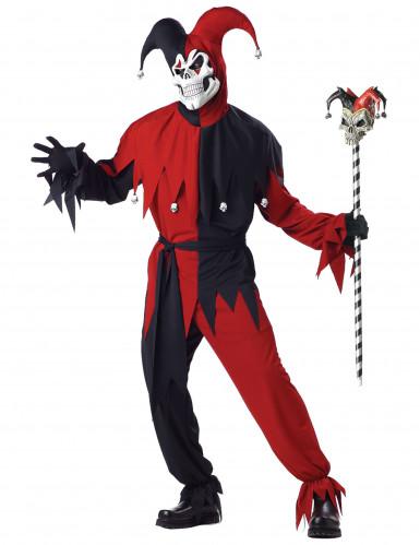 Böser Clown-Kostüm für Herren Harlekin Halloween-Kostüm rot-schwarz