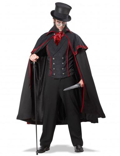 Elegantes Jack the Ripper Halloween-Herrenkostüm schwarz-rot