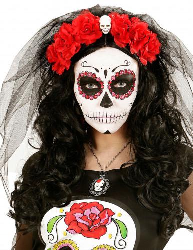 Tag der Toten Haarreif Totenkopf mit Rosen und Schleier schwarz-weiss-rot