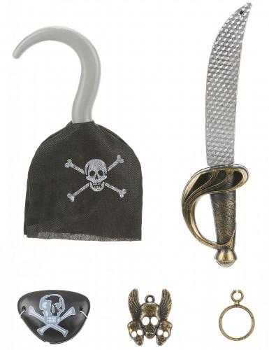 Piraten-Set für Kinder Schwert 5-teilig schwarz-gold