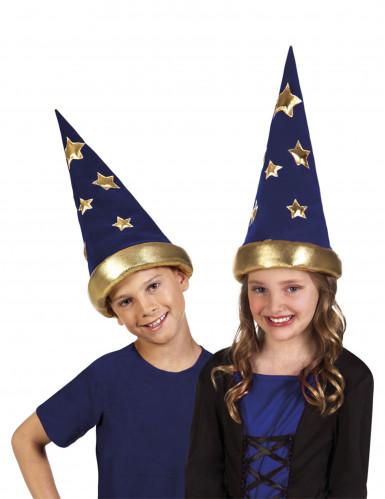 Magischer Zauberer-Hut für Kinder blau-gold