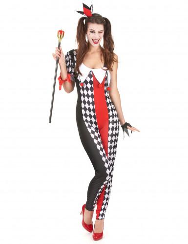 Harlekin-Kostüm für Damen schwarz-weiss-rot