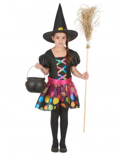 Freche Hexe-Kinderkostüm Halloween schwarz-bunt