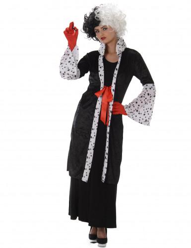 Diebisches Hundefänger-Kostüm für Damen Halloween schwarz-weiß-rot