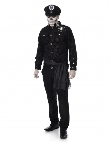 Zombie-Offizier-Kostüm für Herren Halloweenkostüm schwarz