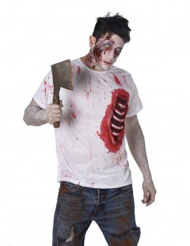Zombie T-Shirt mit Rippen Halloween weiss-rot-1