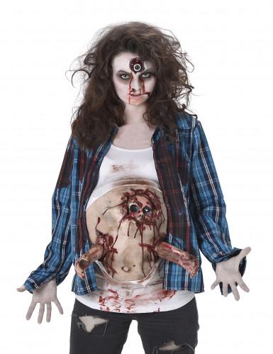 Schwangere Zombie-Frau Halloween-Damenkostüm blau-weiss-1