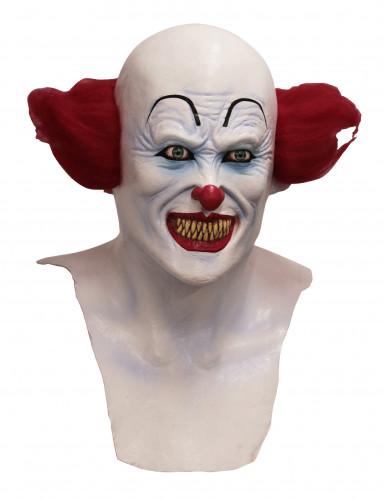 Dämonischer Clown Latexmaske Horrorclown-Maske weiss-rot-blau