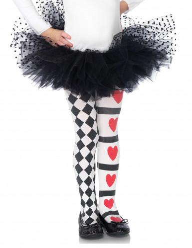 Herzkönigin-Strumpfhose für Kinder schwarz-weiss-rot