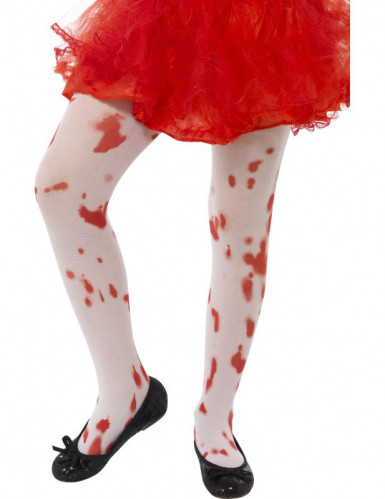 Blutige Strumpfhose für Kinder weiss-rot