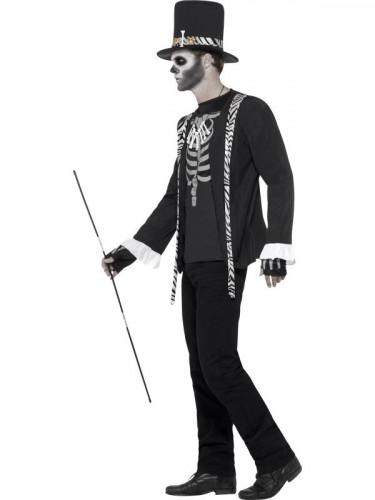 Voodoo Hexenmeister Halloween Herrenkostüm schwarz-weiss-2