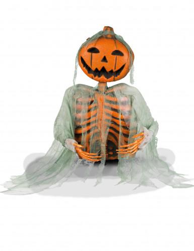 Halloween-Deko Skelett mit Kürbiskopf schwarz-orange 52cm