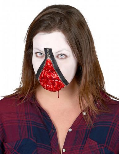 Wunde mit Reißverschluss Halloween Make-up grau-rot