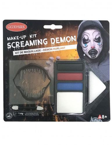 Halloween-Schminkset bissiger Dämon weiss-schwarz
