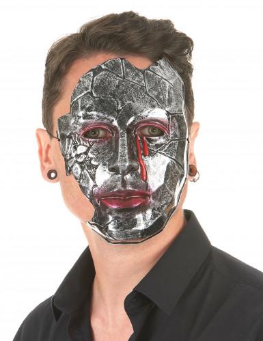 Versteinerte Maske mit Blut silber-rot