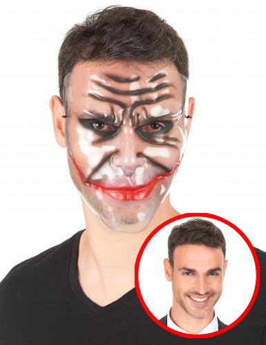 Maske Clownsgrinsen Kostümaccessoire transparent-rot-schwarz