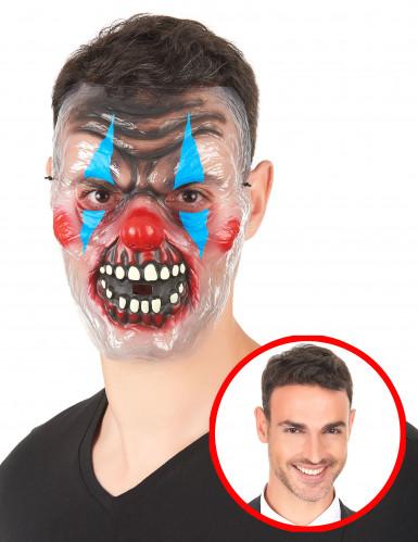 Horroclown Maske für Erwachsene transparent/bunt