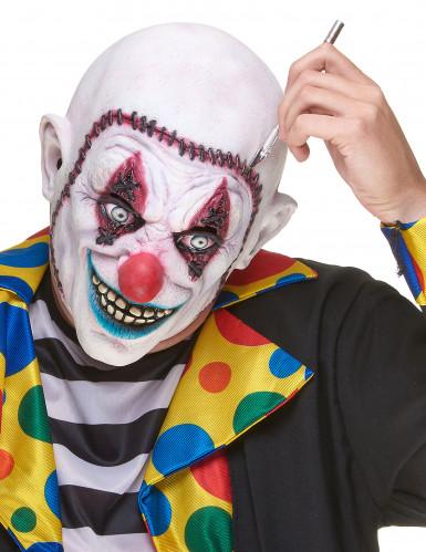 Horrorclown-Maske mit angenähtem Gesicht Böser Clown-Latexmaske weiss-bunt