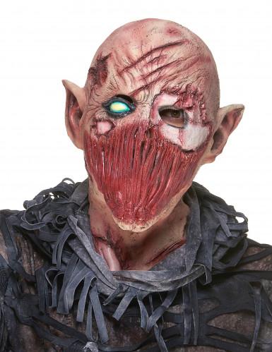 Zombie-Maske aus Latex Halloween Kostümaccessoire hautfarben-rot-grün