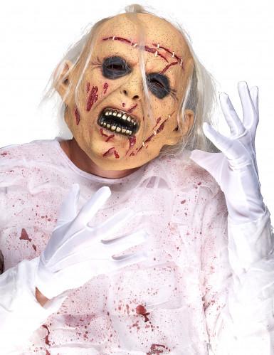 Sterbender Patient Halloween Latex-Maske beige