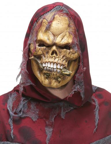 Skelett-Maske aus Latex mit Eidechse beige