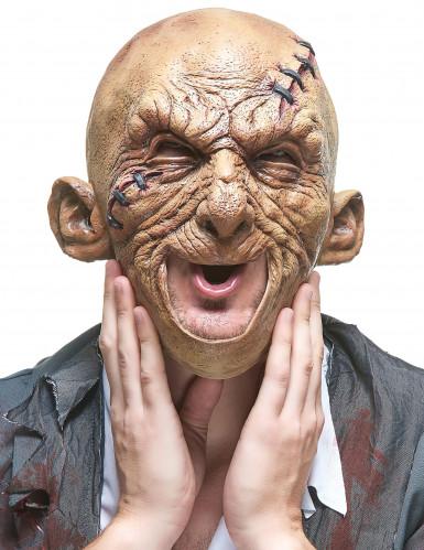Untoter Halloween Latex-Maske Zombie beige-grün