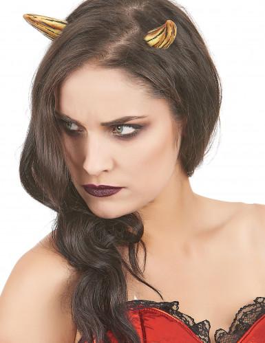 Teufelshörner aus Latex Halloween Kostümaccessoire gold