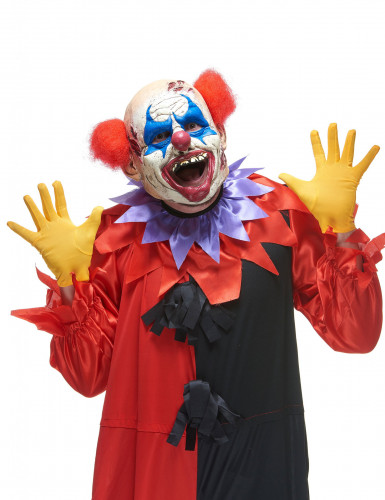 Latex-Maske Halloween Horror-Clown weiss-rot-blau