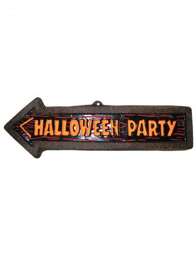 Halloween-Wanddekoration Wegweiser zur Party 57 x 19 cm braun-orange