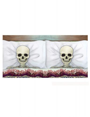 Skelett-Kissenbezüge Halloween-Partydeko 2 Stück beige-schwarz-weiss 53 x 81cm