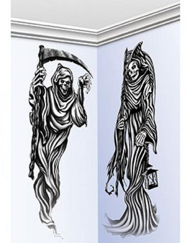 Sensenmann Halloween-Wanddeko 2-teilig schwarz 150cm