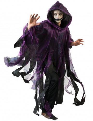 Schwarz/violetter Umhang mit Kapuze für Erwachsene Halloween violett