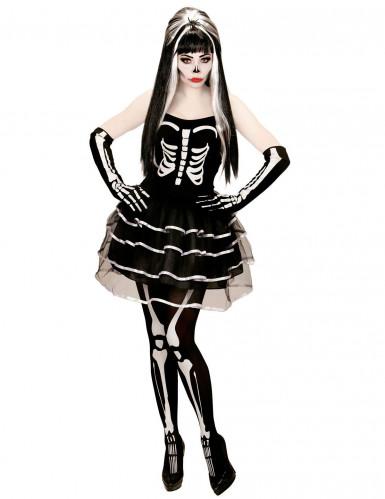 Bezaubernde Skelett-Braut Halloween Damenkostüm Untote schwarz-weiss