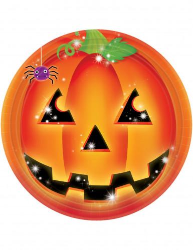 Kürbis Teller Halloween Tischdeko 8 Stück orange-schwarz 23cm