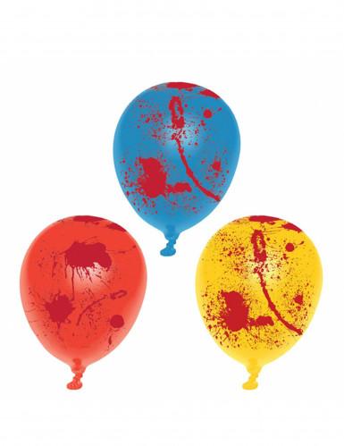 Blutige Luftballons Halloween Ballons 6 Stück gelb-blau-rot 25cm