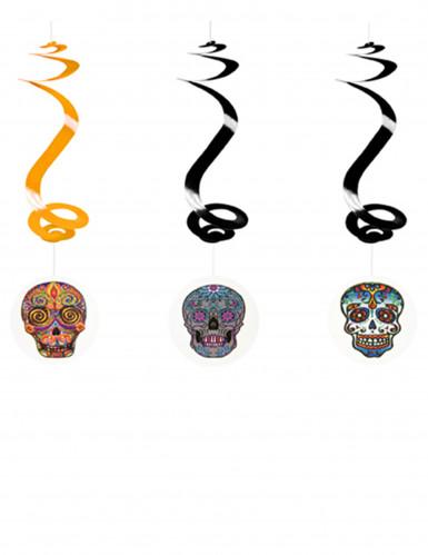 Dia de los Muertos Sugar Skull Hängespiralen Halloween-Deko 3 Stück bunt 60cm