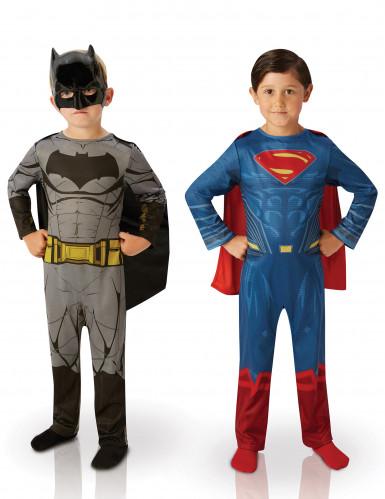Batman™ und Superman™-Kostüm für Kinder Paarkostüm Dawn of Justice™ blau-rot-grau