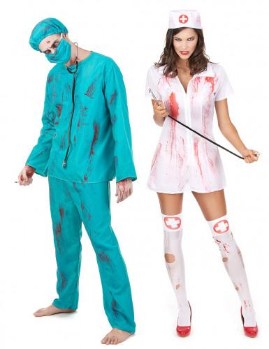 Zombie Krankenschwester & Arzt Paarkostüm grün-weiss-rot
