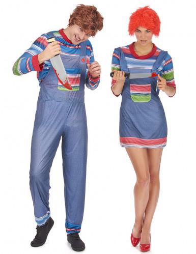Mörderpuppe Halloween Paarkostüm blau-bunt
