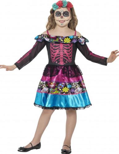 Tag-der-Toten-Kleid Kinderkostüm schwarz-bunt